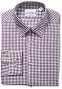 Calvin Klein Men's Non Iron Stretch Slim Fit Check Point Collar Dress Shirt